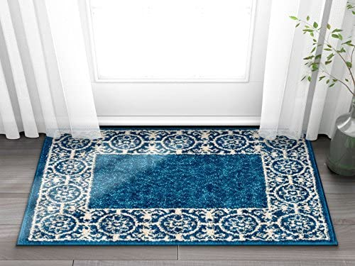 Well Woven Casa Tuscany Dark Blue Ivory Modern Classic Mediterranean Tile Border Floral 2 x 3 2 x 3 Area Rug Soft Shed Free Easy to Clean Stain Resistant
