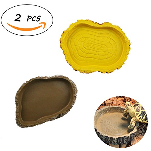 Apol Set of 2 Reptile Resin Food Water Eating Dish Lizards Tortoises Snakes Chameleon feeding Bowl (Tortoise Dish)