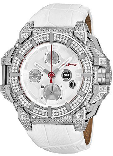 (Snyper One 700 Mens Stainless Steel Iced Out with Real Diamonds - Chronograph Automatic Watches for Men Swiss Made - 43mm Analog Silver Face Sapphire Crystal White Leather Band Watch 10.150.700 )