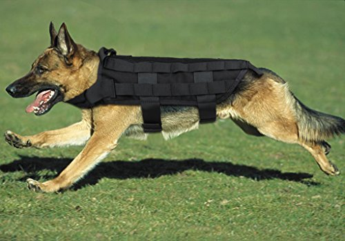 Army Tactical Dog Vests,Xhorizon(TM)XH8 1000D Nylon Tactical Dog Molle Vest Harness Autumn And Winter Pet Vest Training Molle Harness