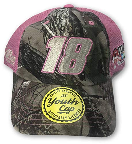 Checkered Flag Kyle Busch #18 Youth Girl's Pink/Camo Adjustable Cap - Youth Cap Adjustable Camo
