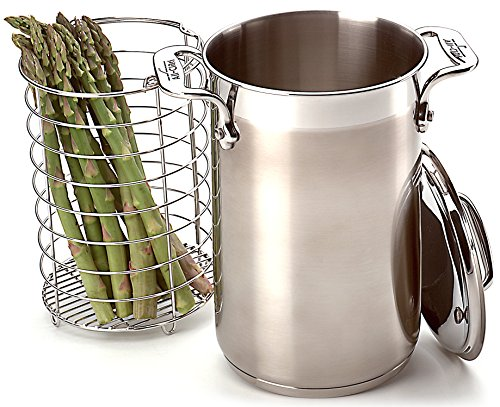 All-Clad 59905 Stainless Steel Dishwasher Safe Asparagus Pot with Steamer Basket Cookware, 3.75-Quart, Silver (All Clad Stainless Steamer Insert)