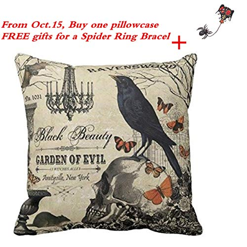 Challyhope Vintage Vogue Throw Pillow Cases Linen Sofa Cushion Cover Home Decor - The Crow Stands on the Skull Print]()