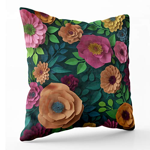 - Crannel Double-Sided Printing Pillowcase 20X20 Inch Throwing Cushion Render Digital Colorful Paper Flowers Spring Summer Background Wallpaper Invisible Zipper Square Decorative Home Sofa