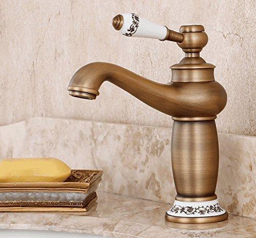 Antique Money Mildemr European Style All Copper Antique Platform Basin Cold Hot Faucet Wash Basin Single Single Hole American bluee and White Water Faucet,Antique Money