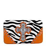 Orange Zebra Rhinestone Studded Maltese Cross Flat Clutch Wallet