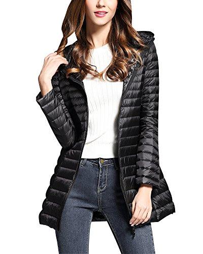 ZhuiKun Hooded Down Jacket Women Warm Long Sections Lightweight Packable Down Coat Black