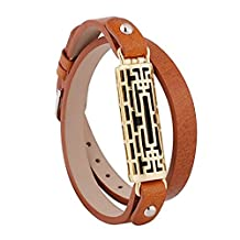 For Fitbit Flex 2 Bands Bracelet TenYun Adjustable Replacement Metal Frame and Genuine Leather Braided Wristbands Metal Clasp Women Small Large Bangle Style