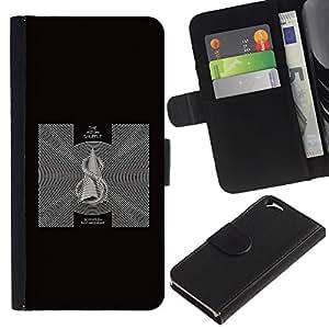 EJOY---La carpeta del tirón la caja de cuero de alta calidad de la PU Caso protector / Apple Iphone 6 / --Negro abstracto en blanco y