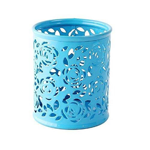 Luweki Makeup Brush Vase Roses Brush pot Cylindrical Round Stationery Storage Pen Pencil Holder 10cm 8cm (Height:10cmWidth:8cm, blue)