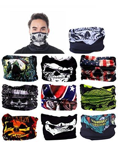 Seamless Multi Function Skull Tube Half Face Mask Headband Headwear Bandana Neck Warmer (Pirate Skull Wristbands)