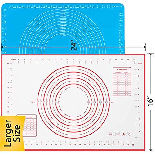 Silicone Pastry Mat No Stick Extra Thick Baking Mat with Measurement Fondant Mat, Counter Mat, Dough Rolling Mat, Oven Liner, Pie Crust Mat (60 x40CM)