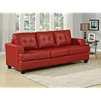 Simple Relax 1PerfectChoice Platinum Red Bonded Leather Sofa With Queen Sleeper
