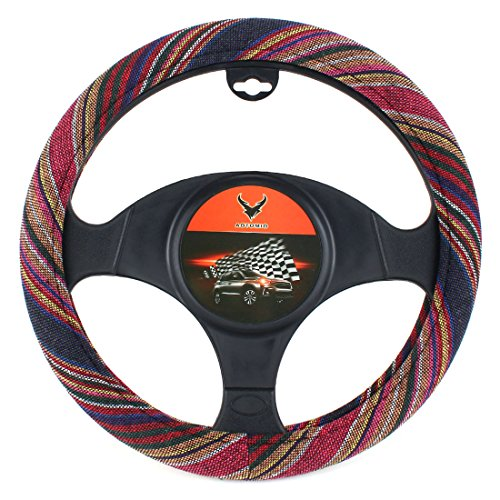 15 inch New Baja Blanket Car Steering Wheel Cover Universal Fit Most Cars Bell Automotive Red Ethnic Style Coarse Flax - Car Flax