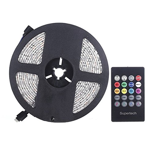 Supertech RGB SMD5050 300 Leds 5M Waterproof Sound Actived Flexible Led strip lights Kit With 20Keys Music Sound Sense IR controller and 12V 5A Power Supply for Indoor and Outdoor
