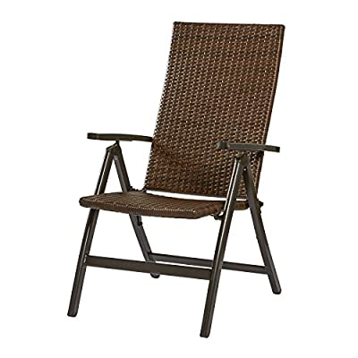Greendale Home Fashions Hand Woven PE Wicker Outdoor Reclining Chair, Dark Walnut - Weather resistant wicker material Durable aluminum frame Chair reclines to 7 different positions - patio-furniture, patio-chairs, patio - 51XdLw%2Bz LL. SS400  -
