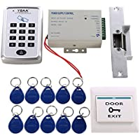 MATEE Access Control System Kit With Keypad Power Supply Strike Lock Exit Button Keyfobs For Single Door