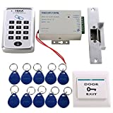 HWMATE Access Control System Kit With Keypad Power Supply Strike Lock Exit Button Keyfobs For Single Door