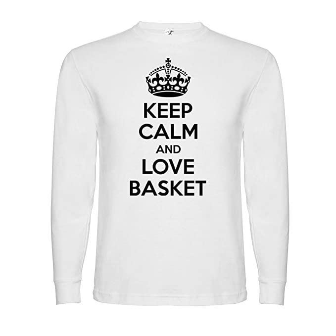 Bikerella T-Shirt Manica Lunga Unisex Keep Calm And Love Basket by  Bianco Nero 4c56c5be6d72