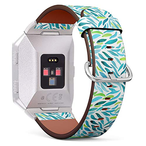 Compatible with Fitbit Ionic Leather Watch Wrist Band Strap Bracelet with Stainless Steel Clasp and Adapters (Watercolor Green Wall ()