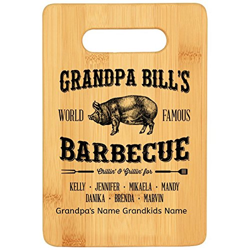 Personalized Custom Laser Engraved Grandpa Bills Famous Barbecue Bamboo Cutting ()