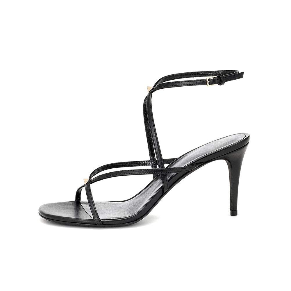 Black Women's PU Slim High Heel Sandals Cross Belt Ankle Strap Buckle High Heel Sandals Metal Rivet Sandals (Heel Height  8 cm)