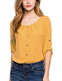 Amazon.com: Yellow - Blouses & Button-Down Shirts / Tops & Tees ...