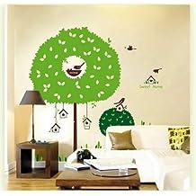 Wallmates Home Decor Mural Vinyl Wall Sticker Big Green Tree Sweet Home Birdcages Kids Nursery Room Wall Art Decal Paper