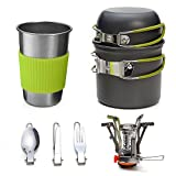 Odoland Camping Cookware Kit Lightweight Stove and Stainless Steel Cup, Tank Bracket, Fork Knife Spoon Kit for Backpacking, Outdoor Camping Hiking and Picnic