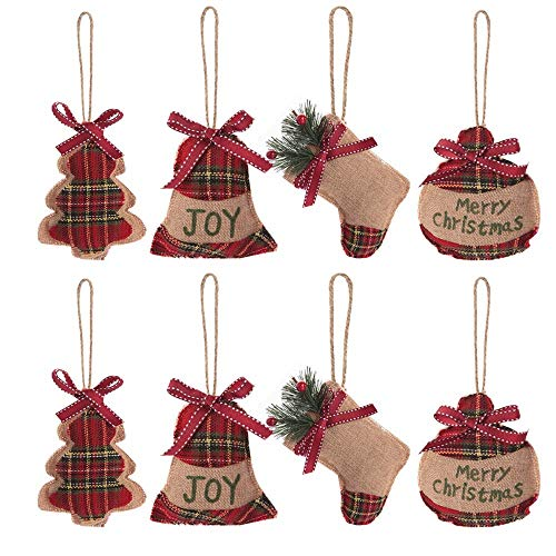 EasyBravo Christmas Tree Ornaments Burlap Christmas Tree Decorations in Tree Bell Stocking Ball Shape, 8PCS