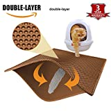 Pieviev Cat Litter Mat Trapper - 76 x 61 cm Honeycomb Double Layer Litter Mat -Traps Messes, Easy Clean and Durable, Non Toxic Trapper Rug Suitable for Litter Boxes(Brown)