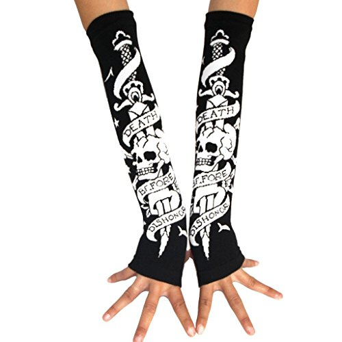 ColorFino Fingerless Arm Warmers Fingerless Gloves Cosplay Gloves Skull One Size