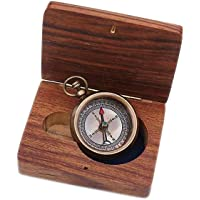 """Solid Brass Compass """"I Won't Need This Anymore I've Found What I Was Looking For"""" with Wooden Case"""