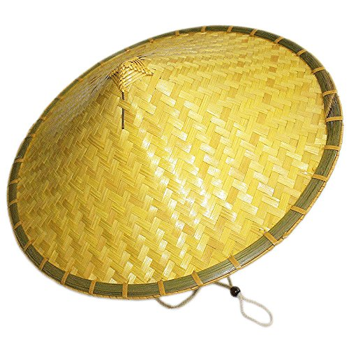 Sunnyhill(TM) Chinese Oriental Bamboo Straw Cone Garden Fishing Hat Adult Rice Hat (Style -
