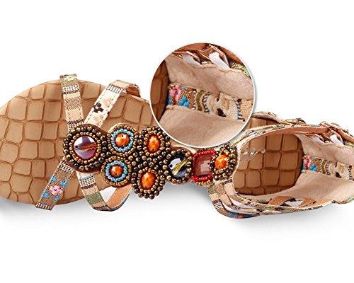 Mujer Sandalias Planas Bohemia Adorno De Rhinestone Romanas Zapatos de Hebilla de clip del dedo del pie Albaricoque