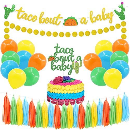Taco Bout A Baby Banner and Cake Topper Party Decoration kit Cactus Gold Glittery Circle Dots Garland Paper Tassel Balloons Mexican Fiesta Baby Shower supplies