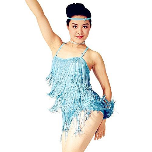 MiDee Camisole 5 Tiers Tassels Latin Costume Fringes Dance Dress (MC, Sky Blue) (Cheap Dance Costumes)