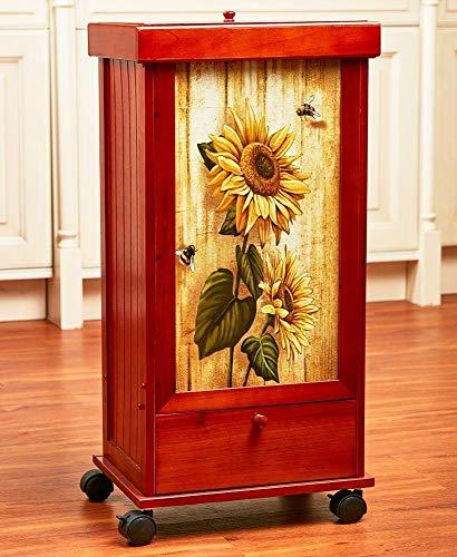 (Moon_Daughter Rolling Conceal Decorative Wastebasket Kitchen Trash Bin Cover Drawer Decor Sunflower Picture)