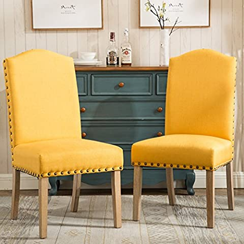Roundhill Furniture C171YL Mod Urban Style Wood Nailhead Fabric Padded Parson Chair Set of 2, (Yellow Room Chairs)