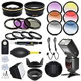 52mm Complete Accessory Kit for NIKON D7100 D7000 D5200 D5100 D5000 D3200 D3100 D3000 D90 D80 D600 D800 D800E DSLR Cameras Includes: Wide Angle & Telephoto Lens - International Version (No Warranty) + 13 Pc. Filter Kit + Auto-Focus Flash + Flash Diffuser