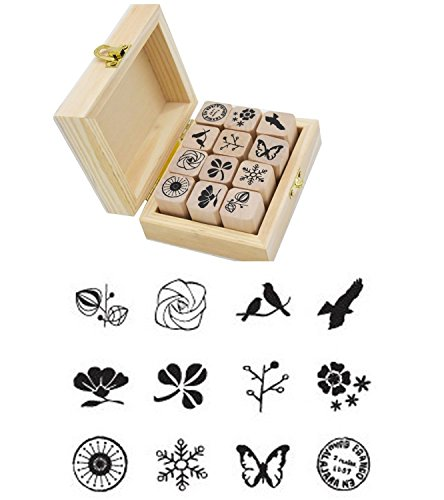 Butterfly Wooden Stamp (Youkwer 12 Pcs Mini Cute Wooden Rubber Stamps DIY Diary Stamps Set with Wooden Box)