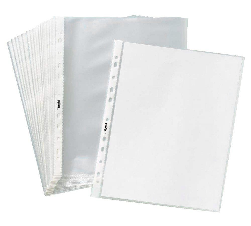 TYH Supplies Box of 200 Economy 11 Hole Clear Sheet Protectors, 8-1/2'' x 11'' Non Vinyl Acid Free