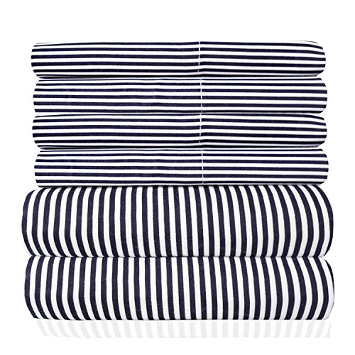 Sweet Home Collection 6 Piece 1500 Thread Count Egyptian Quality Deep Pocket Bed Sheet Set - 2 Extra Pillow Cases, Great Value, Classic Stripe Navy, Queen