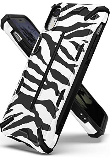 Ringke Dual-X Design for [iPhone XR Case] Dual-Layer Reinforced Heavy Duty Protective Cover for [iPhone XR] - [Zebra White]