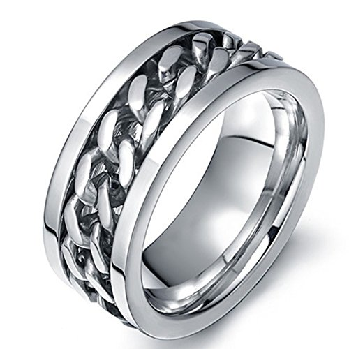 SAINTHERO Mens Wedding Bands Classic 8MM Spinner Chains Decor Titanium Steel Promise Rings for Him High Polish Comfort Fit Size 10 -