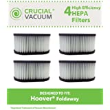 4 Washable & Reusable HEPA Filters for Hoover Foldaway & Turbo Power Vacuums; Compare to Hoover Part No. 40130050; Designed & Engineered by Crucial Vacuum