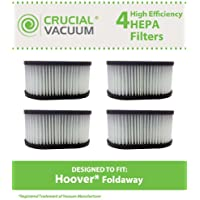 4 Replacements for Hoover Foldaway HEPA Style Filter Fits Foldaway & Turbo Power, Compatible With Part # 40130050, Washable & Reusable, by Think Crucial
