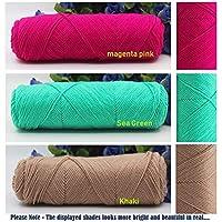 Jo's Special Skincare 4ply Cotton Velvet Silk Yarn for Hand Knitting/Crochet Baby Clothing, Scarf, Coat, Sweater etc (150 Grams 3 Balls Combo Pack)