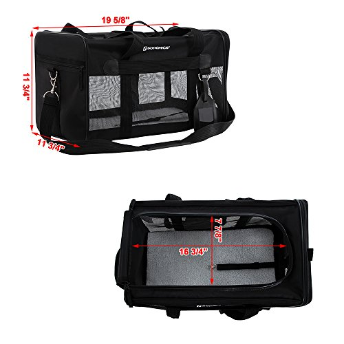 SONGMICS-Soft-Sided-Pet-Carrier-Dog-Travel-Carrier-with-Removable-Fleece-Bed-Black-UPPC51H