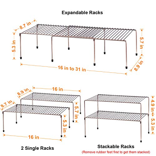 WOSOVO Expandable Stackable Cabinet Shelf Kitchen Counter Rack Organizer Multipurpose Pantry Bedroom Bathroom Storage Racks, 2 Pack